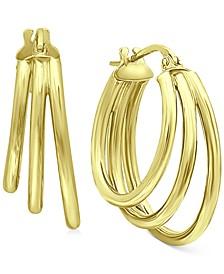Medium Triple Hoop Earrings in 18k