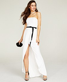 Juniors' Belted Strapless Gown