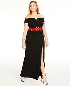 Trendy Plus Size Floral Appliqué Gown