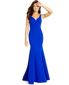 Juniors' Illusion-Back V-Neck Gown
