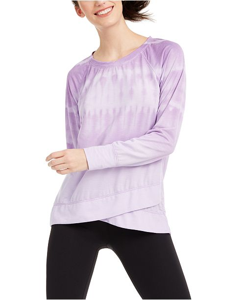 Ideology Tie-Dyed Crossover-Hem Top, Created for Macy's