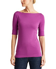 Boatneck Elbow-Sleeve Top