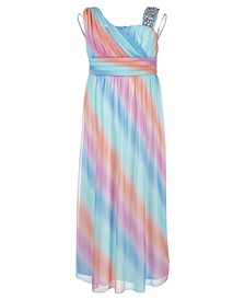 Big Girls One-Shoulder Rainbow Maxi Dress