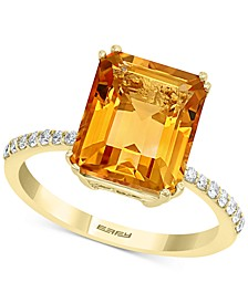EFFY® Amethyst (3-7/8 ct. t.w.) & Diamond (1/6 ct. t.w.) Ring in 14k Rose Gold