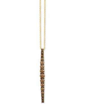 "Chocolatier Chocolate Diamond Linear 18"" Pendant Necklace (7/8 ct. t.w.) in 14k Gold"