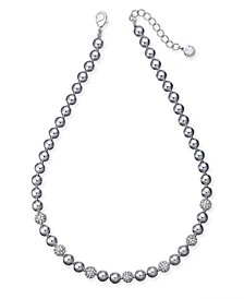 "Silver-Tone Pavé-Fireball & Bead Collar Necklace, 17"" + 2"" extender, Created for Macy's"