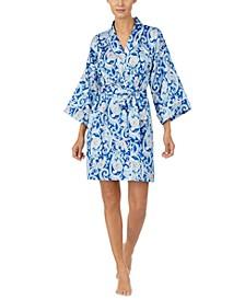 Paisley Short Satin Kimono Wrap Robe