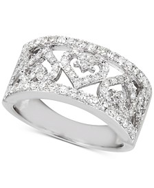Diamond Heart Openwork Statement Ring (3/4 ct. t.w.) in Sterling Silver