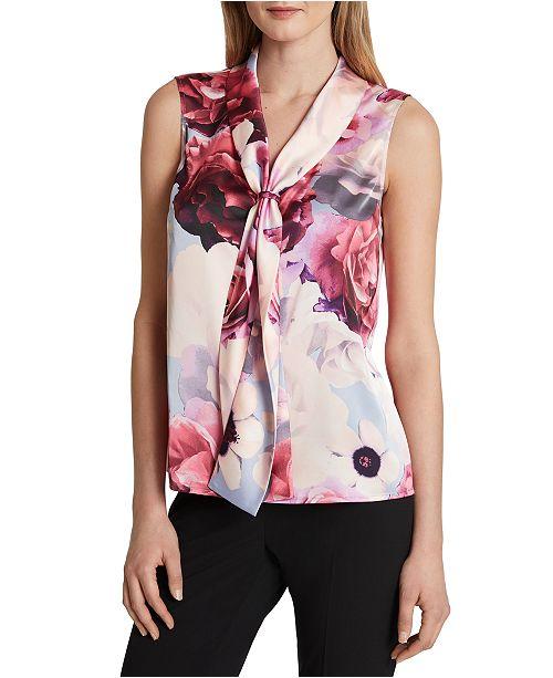 Tahari ASL Floral-Print Tie-Front Sleeveless Top