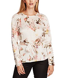 Floral-Print Belted Blouse
