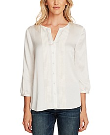 Rumple Hammer Satin Lace-Trimmed Blouse