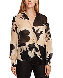 Bubble-Sleeve Cowhide-Print Front-Twist Top