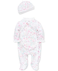 Baby Girls 2-Pc. Cotton Watercolor Floral-Print Hat & Footed Coverall Set