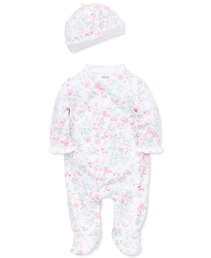 Little Me - Baby Girls 2-Pc. Cotton Watercolor Floral-Print Hat & Footed Coverall Set