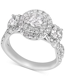 Diamond Oval Halo Three-Stone Engagement Ring (1-3/4 ct. t.w.) in 14k White Gold