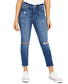 Celebrity Pink Juniors' Ripped Cropped Straight-Leg Jeans