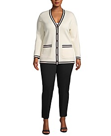 Plus Size Contrast-Trim Cardigan