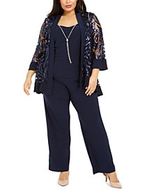 Plus Size 2-Pc. Sequined Jacket Top & Straight-Leg Pants