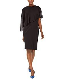 Petite Chiffon-Popover Sheath Dress