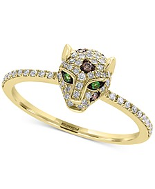 EFFY® Diamond (1/3 ct. t.w.) & Tsavorite Accent Panther Statement Ring in 14k Gold