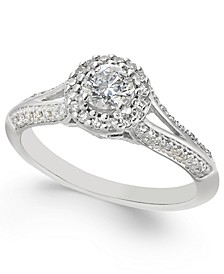 Diamond Split-Setting Halo Engagement Ring (1/2 ct. t.w.) in 14k White Gold