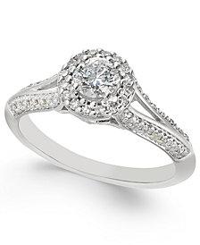 Diamond Split-Setting Halo Engagement Ring (1/2 ct. t.w.) in 14k White Gold