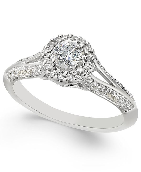 Macy's Diamond Split-Setting Halo Engagement Ring (1/2 ct. t.w.) in 14k White Gold