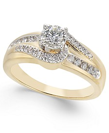 Diamond Open-Setting Swirl Engagement Ring (1/2 ct. t.w.) in 14k Gold