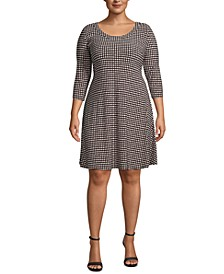 Plus Size Dot-Print Fit & Flare Dress