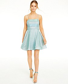 Juniors' Lace-Up-Back Glitter Dress, Created for Macy's