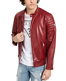 Men's Faux Leather Moto Bomber Jacket