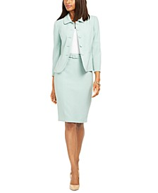 Button-Front Blazer And Belted Pencil Skirt