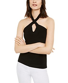 INC Twist-Neck Cutout Halter Top, Created for Macy's