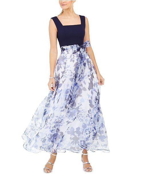 Eliza J Petite Floral-Print Gown