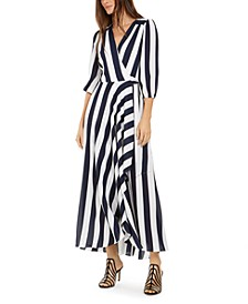INC Volume-Sleeve Striped Maxi Dress, Created for Macy's