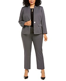 Plus Size Dot-Print Blazer, Keyhole Blouse & Dot-Print Trousers