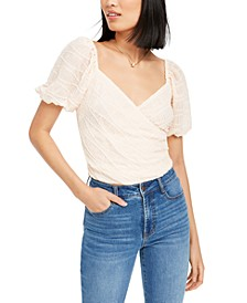 Textured Faux-Wrap Top