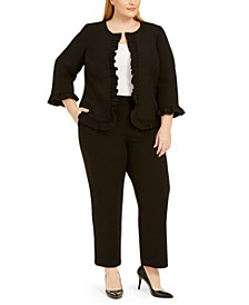 Plus Size Ruffle-Trim Jacket & Dress Pants