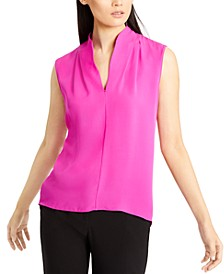 V-Neck Silk Sleeveless Top