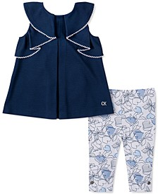 Toddler Girls 2-Pc. Chambray Tunic & Printed Leggings Set