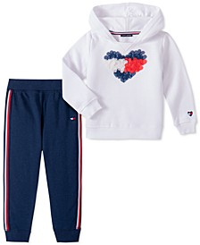 Baby Girls 2-Pc. Fleece Heart Hoodie & Jogger Pants Set