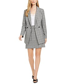 X-Fit Slim-Fit Houndstooth-Plaid Jacket, Camisole & Houndstooth-Plaid Skirt