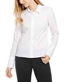 X-Fit Slim-Fit Long-Sleeve Button-Up Blouse