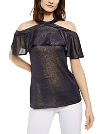 Metallic Flounce Top, Regular & Petite