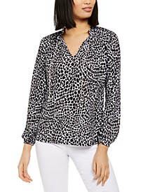 Animal-Print Chain Top, Regular & Petite