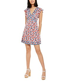 Printed Flutter-Sleeve Mini Dress, Regular & Petite