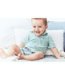 Baby Boys 2-Pc. Cotton Shirt & Plaid Shorts Set