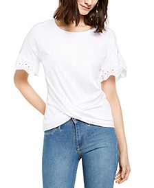 INC Cotton Eyelet-Trim Crossover Top, Created for Macy's