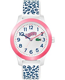 Kid's Swiss 12.12 White & Blue Silicone Strap Watch 32mm