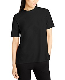 Mock-Neck Short-Sleeve Top